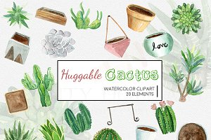 Watercolor Succulent Clipart Set