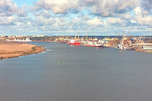The port on the Daugava river in Riga