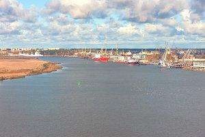The port on the Daugava river in Riga