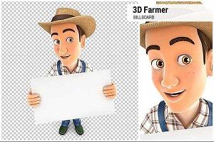 3D Farmer Holding a Billboard