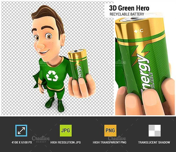 3D Green Hero Recyclable Battery