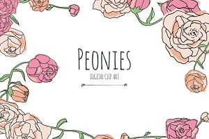Peonies - Digital Clip Art