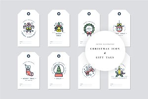 Christmas icons and tags