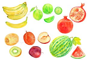 Watercolor Fruit Clipart Set 2