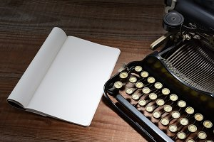 Typewriter and Note Pad
