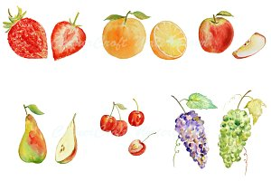 Watercolor Fruit Clipart - Set 1