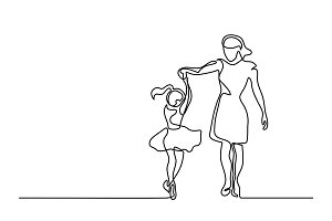 happy dancing woman - continuous line drawing