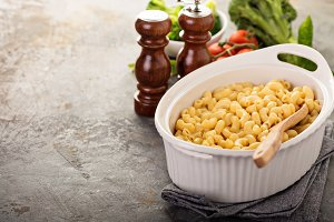 Mac and cheese in a baking dish