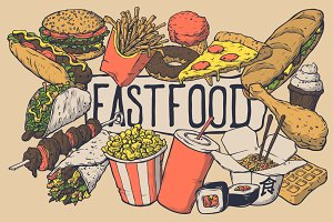 vector fast food set