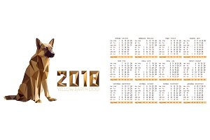 Calendar for 2018 year with dog in polygons style