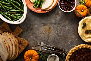 Thanksgiving table overhead shot