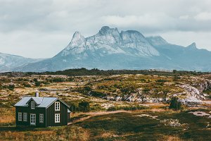 Norway Mountains and house Landscape