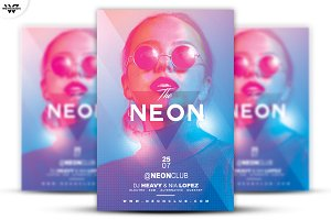 2in1 GLOSSY NEON Flyer Template