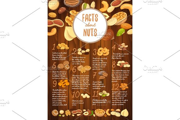 Facts About Nuts On Wooden Board With Kernel