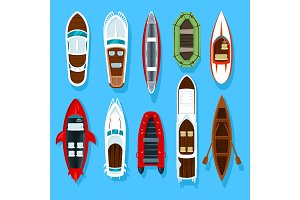 Fisherman boats and wooden sailboat with paddles