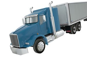 Kenworth semi truck low polygon