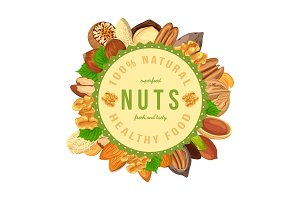 Poster, banner with nuts and seeds in round shape