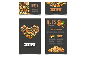 Vertical posters for vegan nut nutrition.