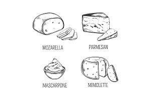 Mozzarella cheese and parmesan, mimolette sketches