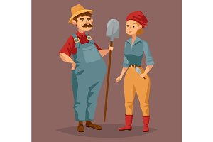 Cartoon gardener man and agriculture worker, woman