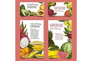 Exotic and tropical fruits on banner or poster