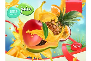 Mix fruits. Splash of juice. Vector