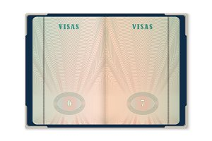 Passport pages for tourist visa identification