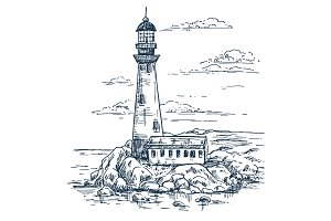 Sketch of lighthouse on island with rocks