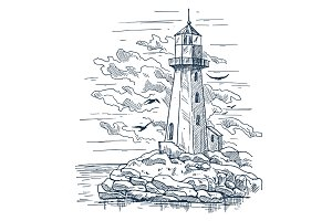 Lighthouse sketch on island made of rocks