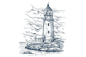 Beacon or harbor lighthouse sketch on island