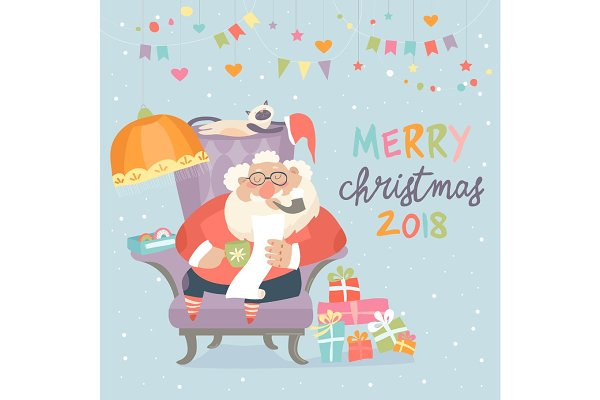 Santa Claus sitting in armchair and…