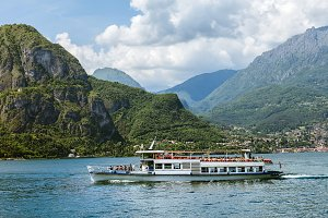 Passenger boat in mountain Lake Como