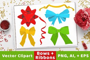 40 Holiday Bows + Ribbons Clipart