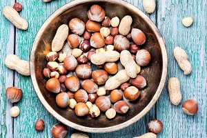 hazelnuts and peanuts