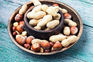 hazelnuts and peanuts