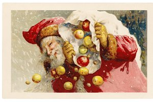 christmas greetings, Santa & Apples