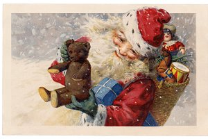 christmas greetings, Santa & Teddy