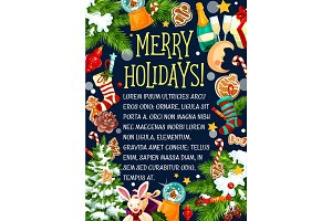 Christmas merry holidays vector greeting card