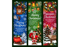 Christmas greeting banner with holiday sketches