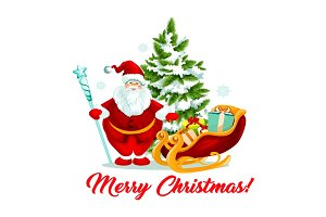 Merry Christmas Santa gifts sleigh tree vector icon