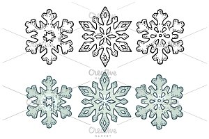 Set Snowflakes. Vector vintage black engraving illustration.