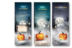Group of Halloween banners