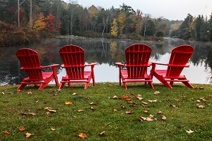 Four red chairs with autumn colors