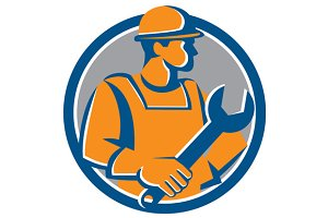 Construction Worker Spanner Circle C