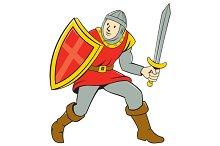 Medieval Knight Shield Sword Standin