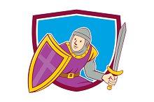 Medieval Knight Shield Sword Cartoon