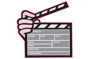 Movie Clapboard Hand Cartoon
