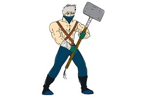 Ninja Masked Warrior Sledgehammer Ca