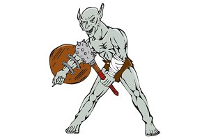 Orc Warrior Hold Club Shield Cartoon