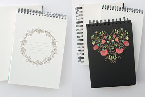 Pack of floral ornaments and pattern